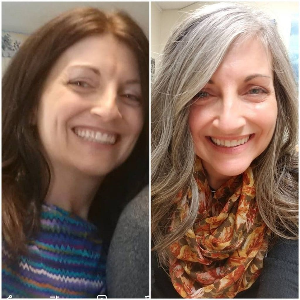 image of woman before and after going grey