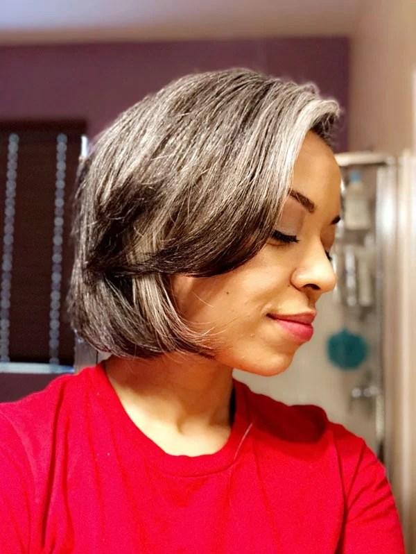 image beautiful young woman gray hair bob