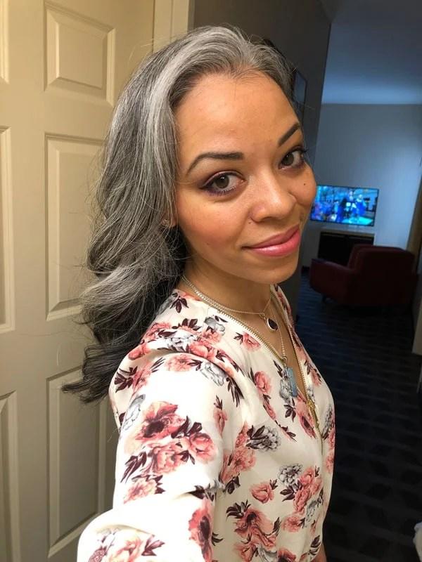 image of beautiful woman long gray hair