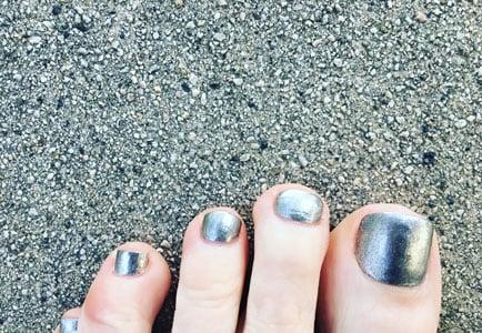 image of silver toenails