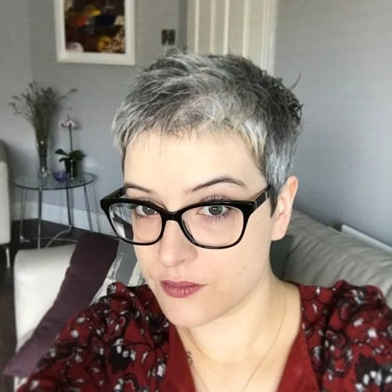 image of young woman with grey pixie