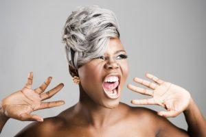 image of angry woman gray hair