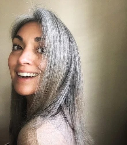 image of beautiful woman long gray hair
