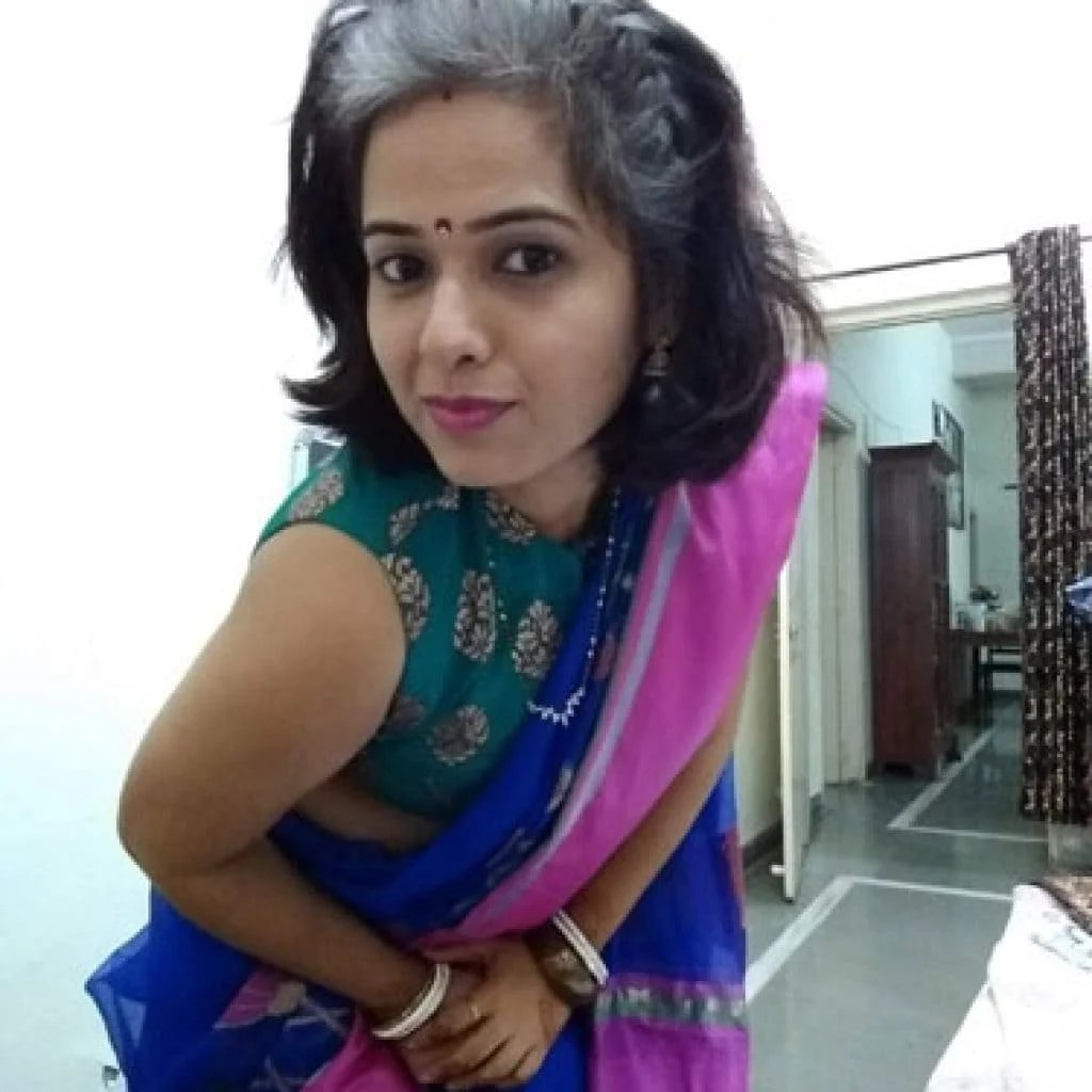 image of pretty Indian woman in sari who is young and going grey