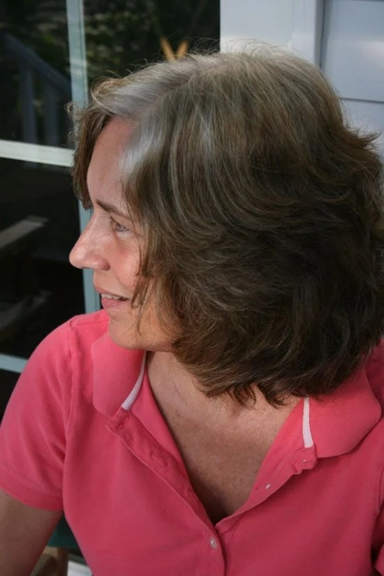 image of woman with transitioning to gray hair