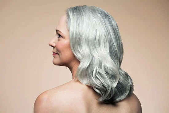 image of woman with lovely silver curls