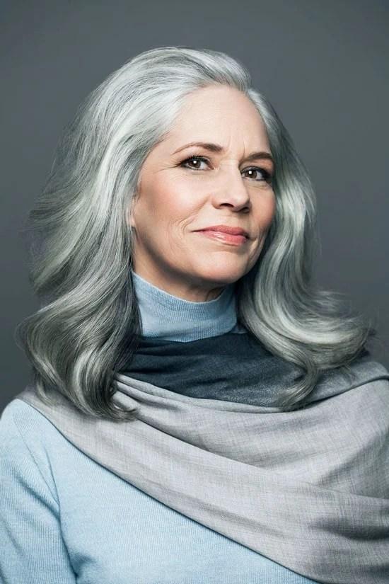 image of judith's stunning gray hair