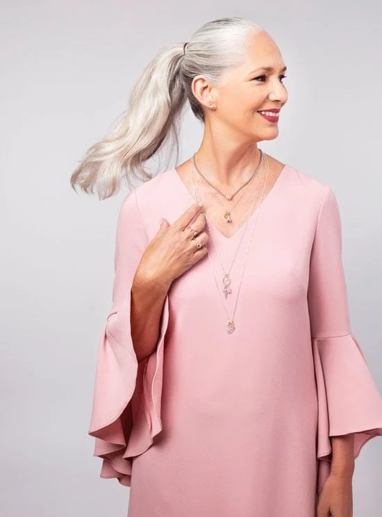 image of beautiful woman with stunning silver hair