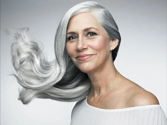 image of woman with stunning silver hair