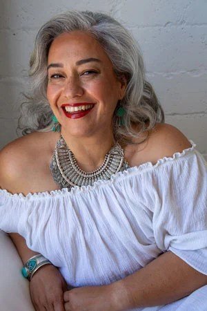 image of woman with lovely long gray hair
