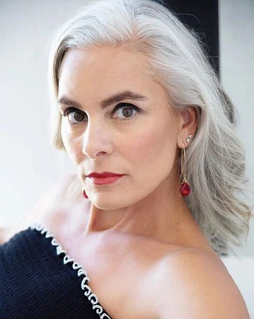image of beautiful woman gray hair silver revolution portrait