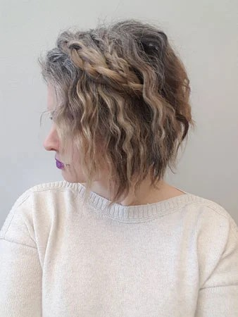 image of frankie with grey hair and braids