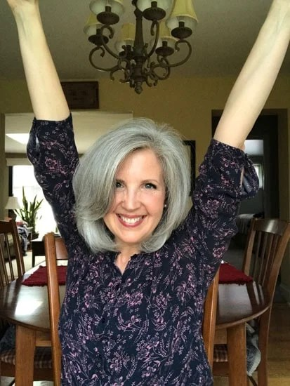 image of happy woman gray hair