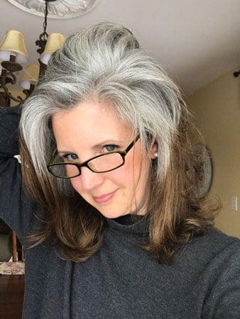 image of jonis gray hair at 42 weeks