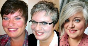 image of women transitioning to gray hair