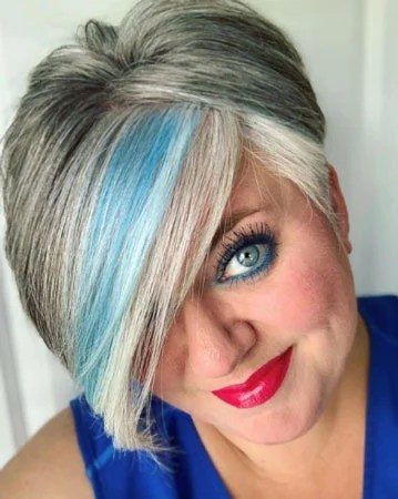 image of woman gray hair blue streak