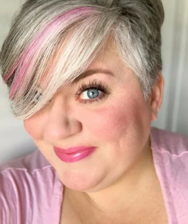 image of gray hair woman pink streak