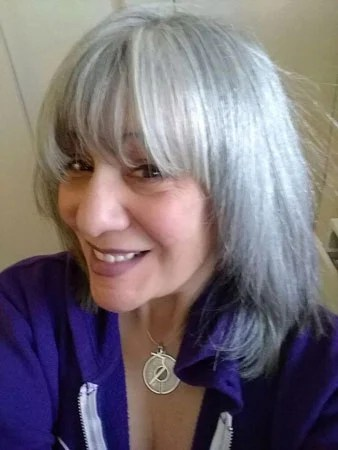 image of woman naturally silver hair