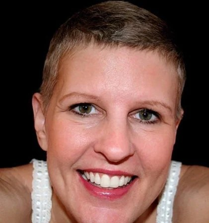 image of woman short gray hair after chemo
