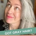 image of woman with gray hair and spare eyebrows