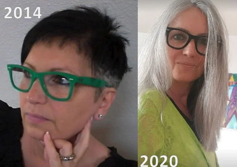 image of before and after grey hair