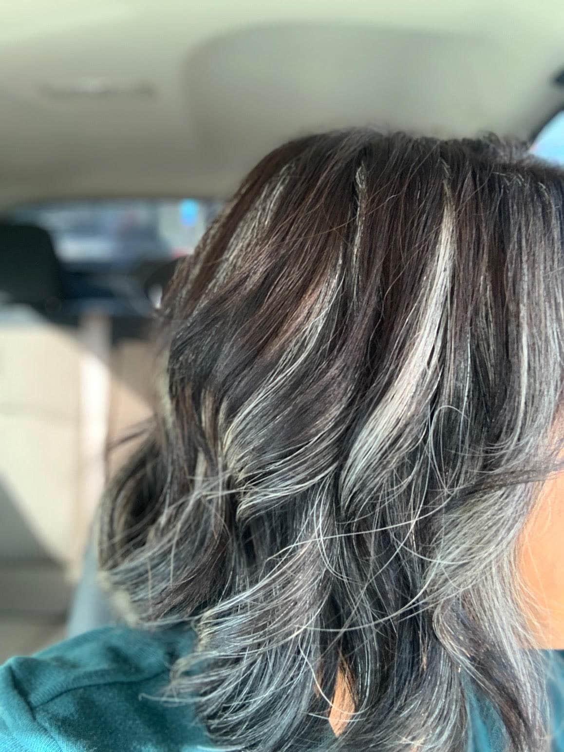 Image of woman long hair going gray
