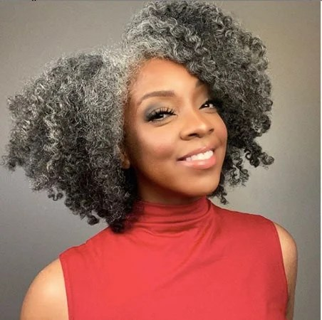 image of stunning woman gray hair
