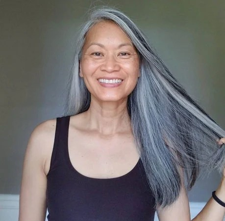 image of woman straight gray hair