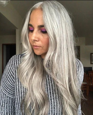image of gorgeous naturally long silver hair