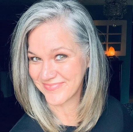 image of woman straight grey hair with dyed ends