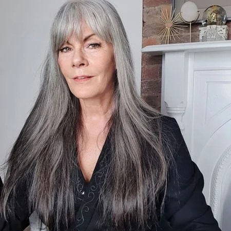 image of model mel brady with grey bangs