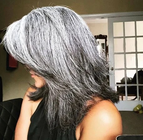 image of thick salt & pepper hair in layers