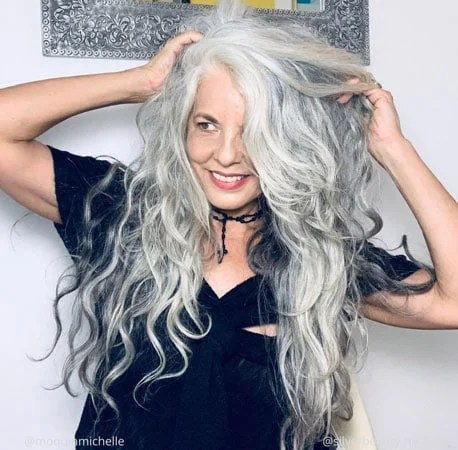 image of woman white wavy hair