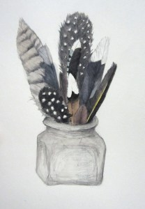 """""""Feathers in a Jar"""", watercolor and pencil, 10"""" x 10"""""""