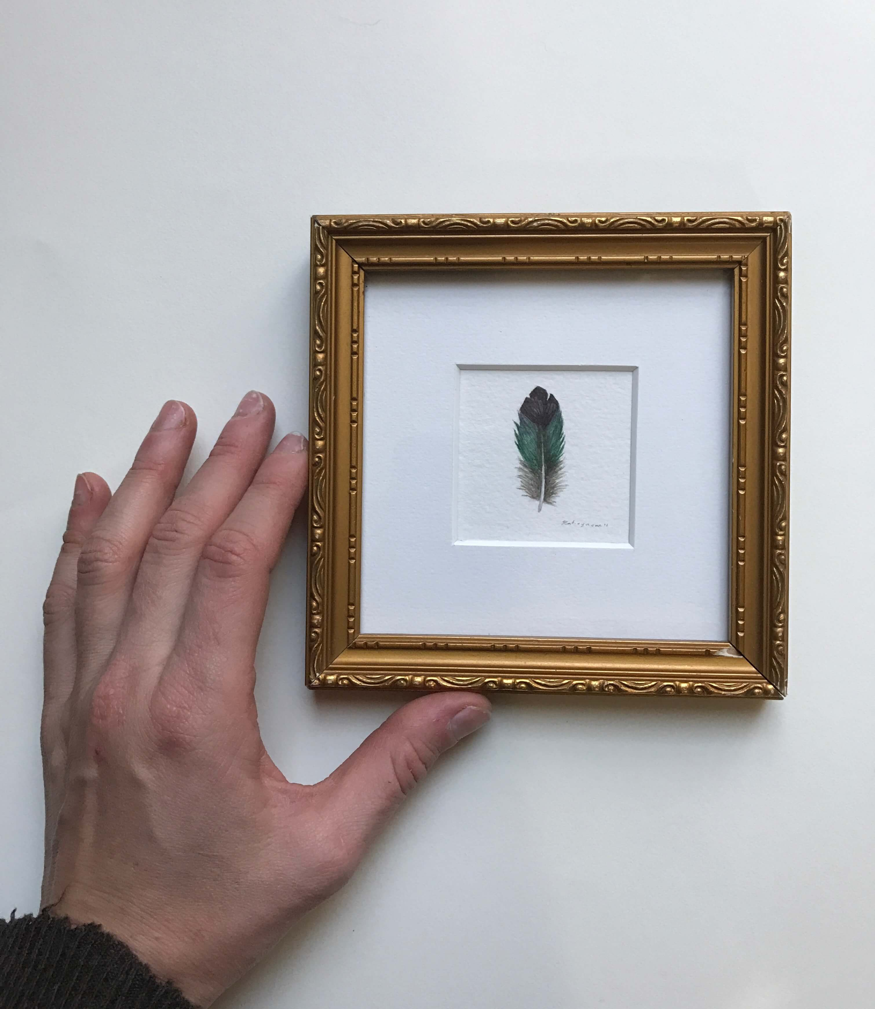 """Violet Green Swallow Feather/ Watercolor In A Vintage Gold Painted Frame/ 5"""" X 5"""" / $85"""