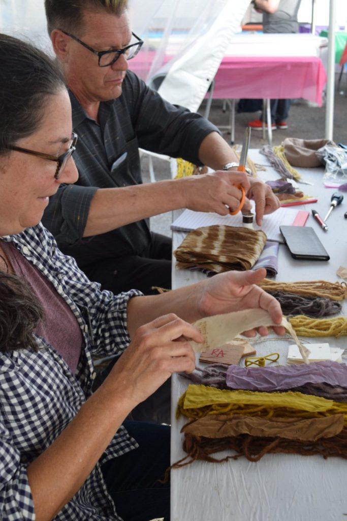 making plant dye sample cards