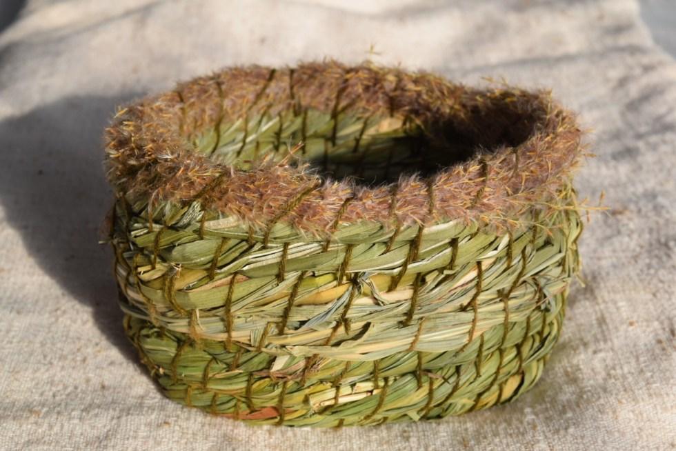 Wild grass and cattail basket