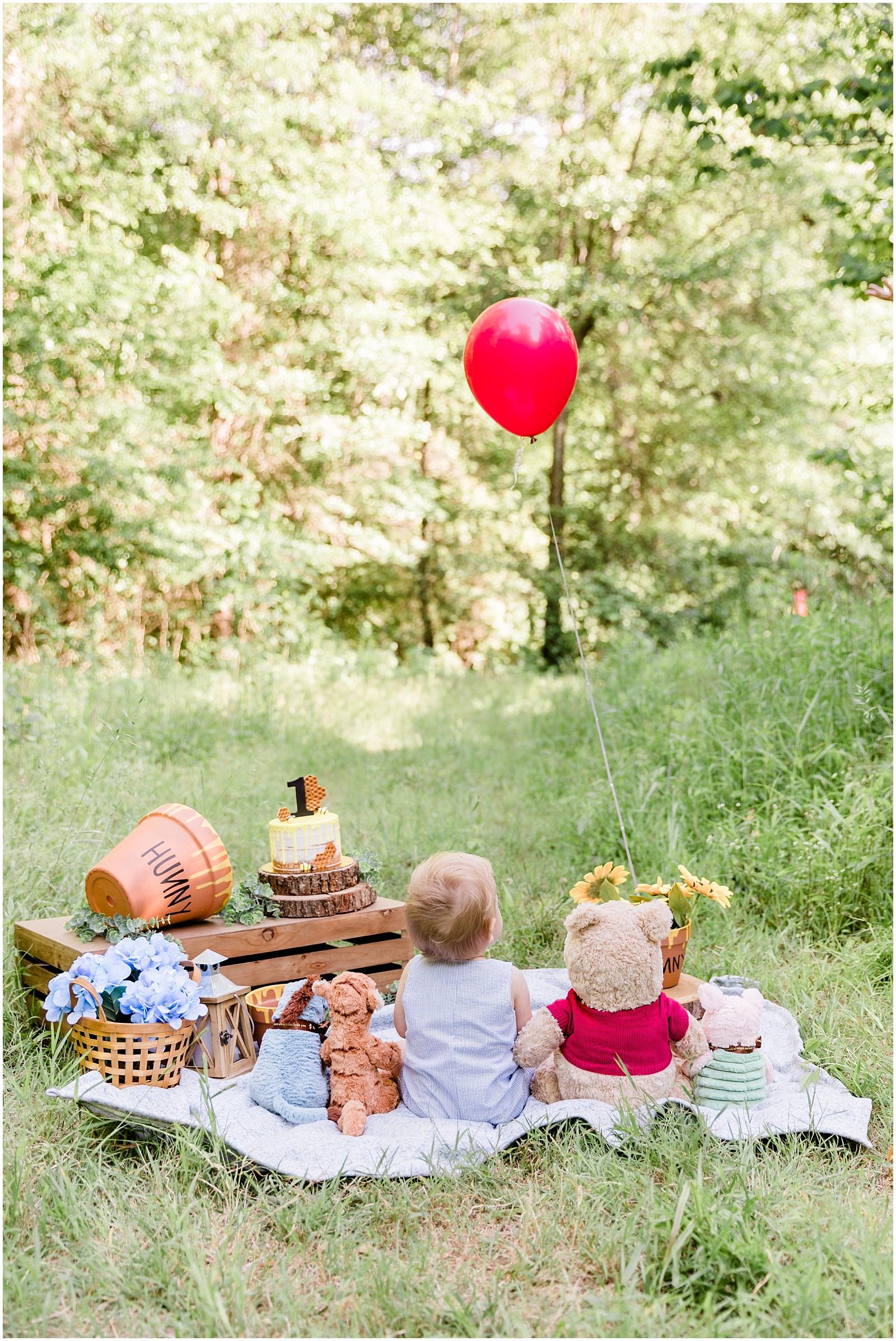 Winnie The Pooh First Birthday Cake Smash 0007 Katie James Blog