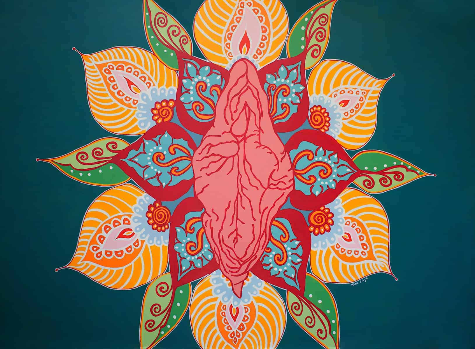 Vagina Flower yoni Mandala in green and yellow