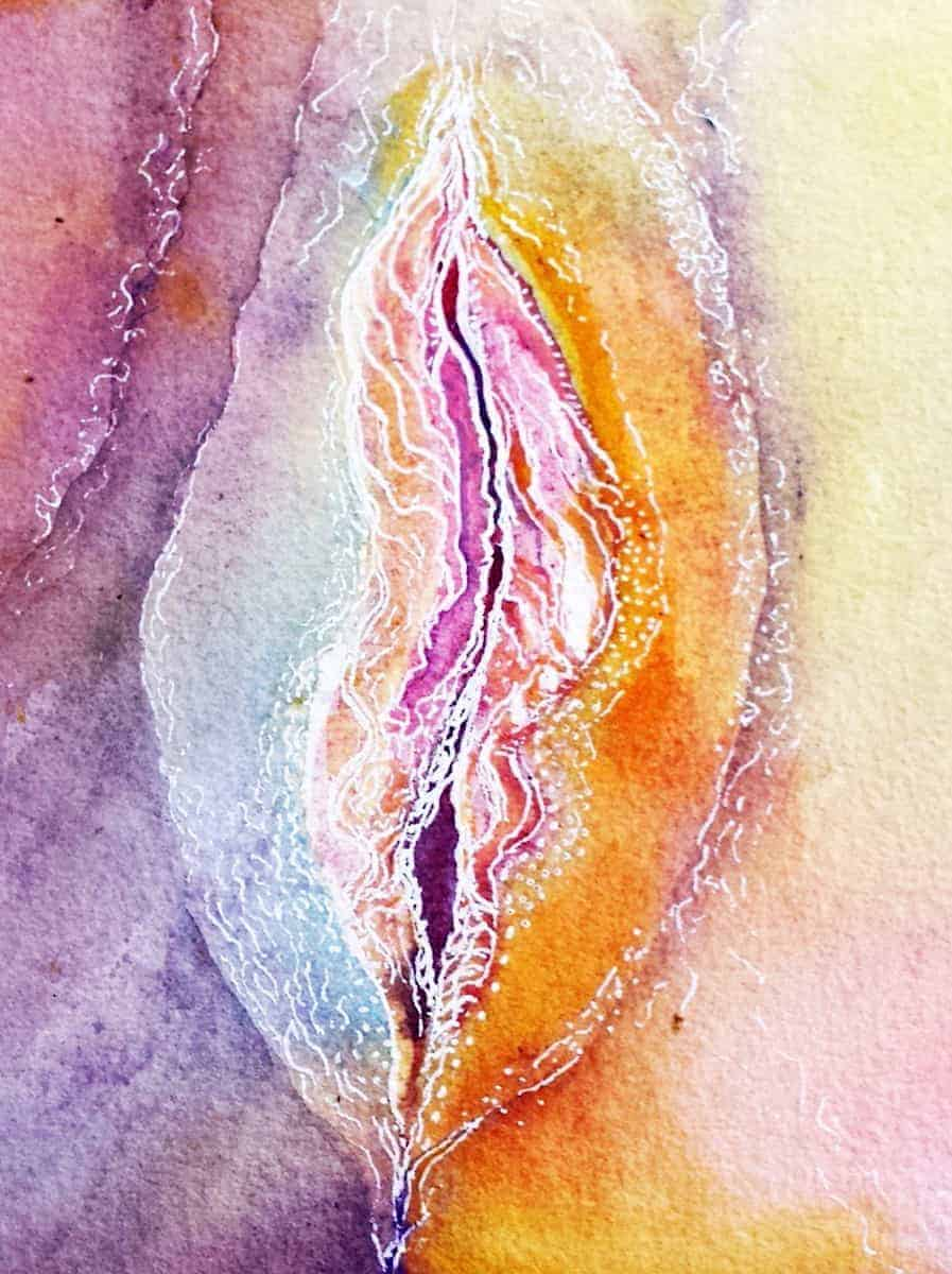 Rainbow vagina line art painting by Katie Lloyd