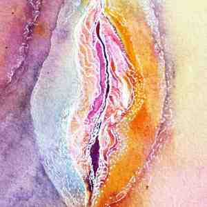 The original woman Rainbow vagina line art painting by Katie Lloyd
