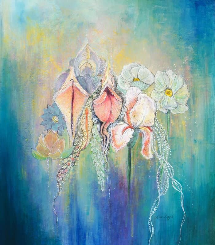 Acrylic painting of vulva or vagina painted next to bearded iris, lotus flowers by Katie Lloyd