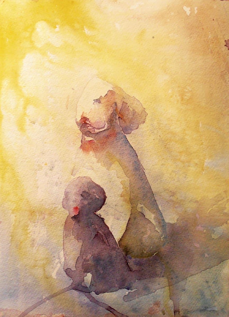 Two poodles in the sun watercolour painting in warm yellow sunshine by artist Katie Lloyd