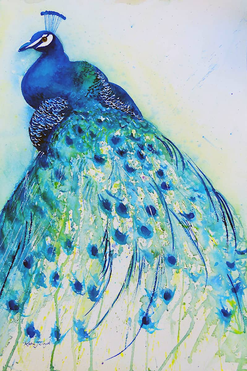 Turquoise blue and green peacock painting side on by Katie Lloyd