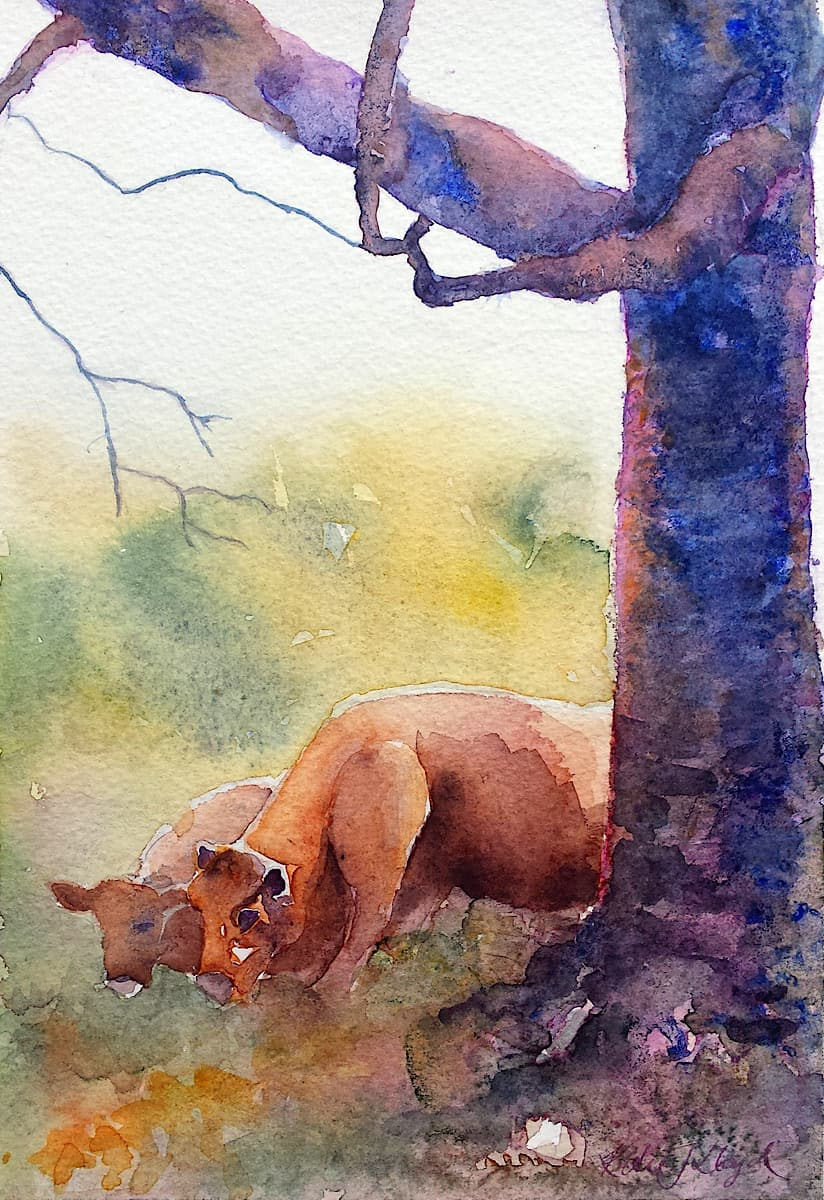 Two cows under a tree eating grass watercolour painting By Katie Lloyd