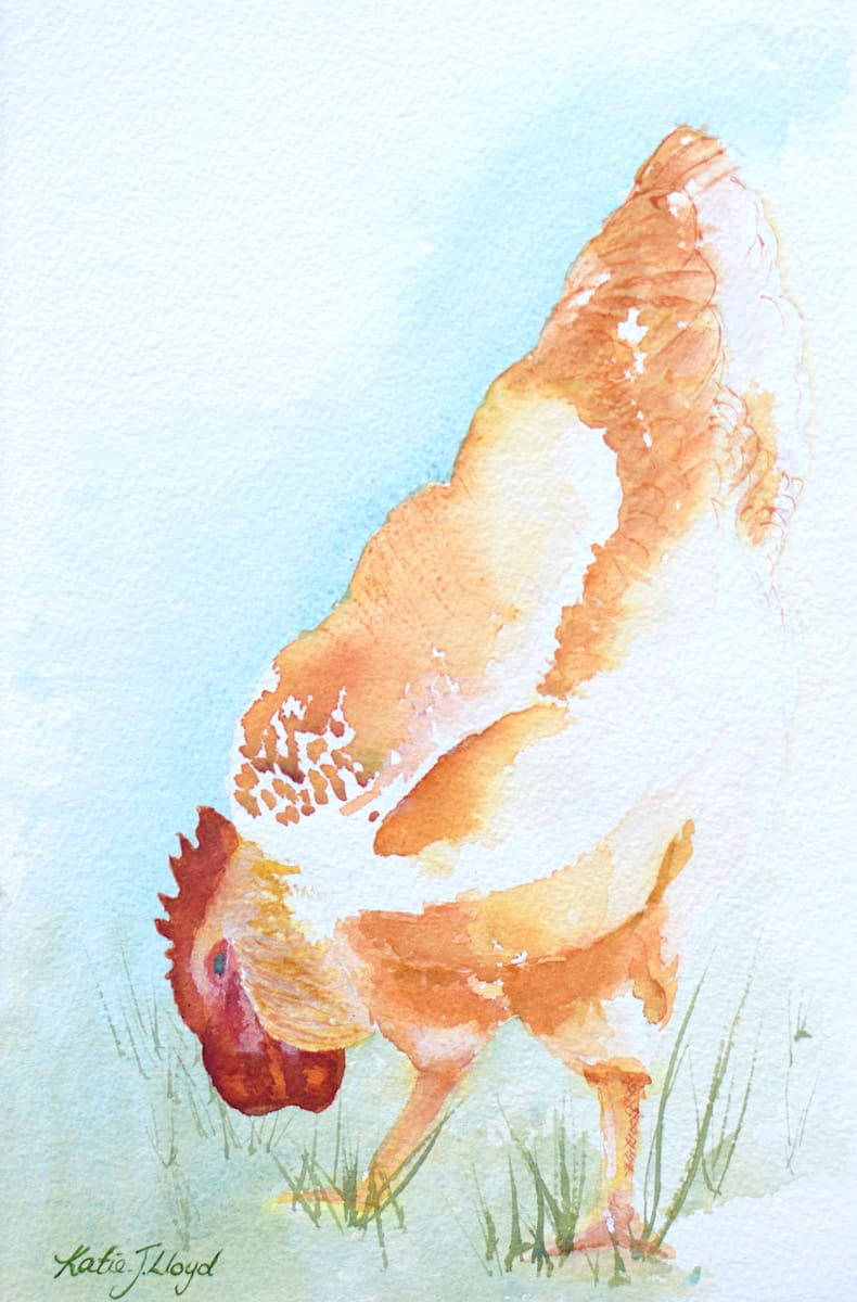Watercolour Chicken eating grass seed