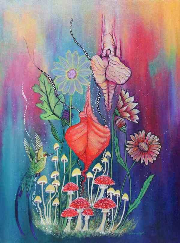 Procreation acrylic yoni and humming bird mushroom painting