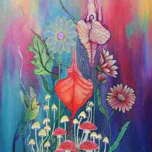 Procreation acrylic yoni and humming bird mushroom painting