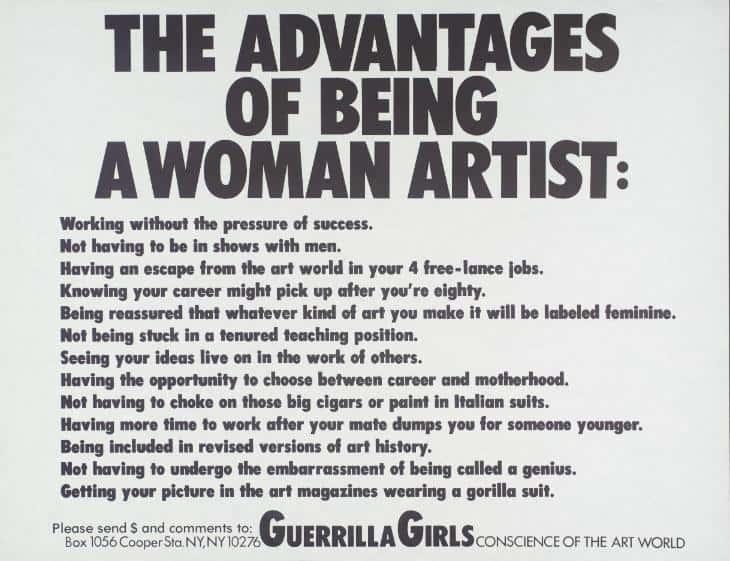 Guerrilla Girls artwork 'the advantages of being a woman artist'