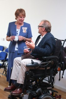 The Lord Lieutenant chats with a centre user